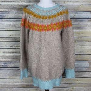 Sleeping On Snow Fair Isle Tunic Sweater Metallic